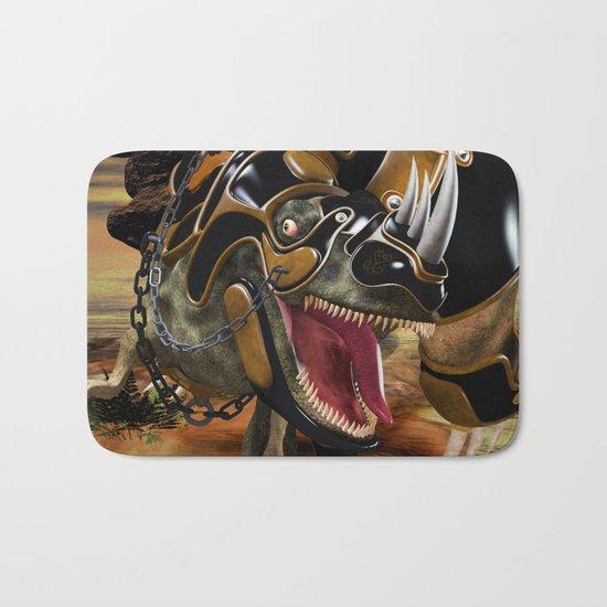 T-Rex with armor Bath Mat