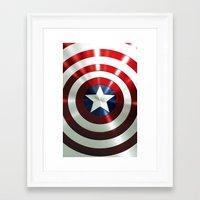 steve rogers Framed Art Prints featuring Captain Steve Rogers Shields  by neutrone