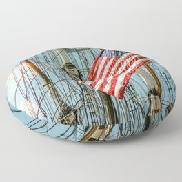 Sailing Ship Flag Floor Pillow