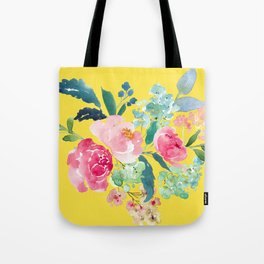 Yellow Watercolor Floral Pink Peonies Tote Bag