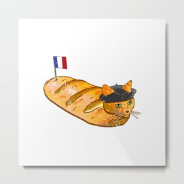 French Bread Cat Loaf Metal Print