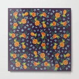 Dark Floral: Marigolds and Borage Metal Print