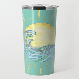 Sun Wave Aqua  Travel Mug