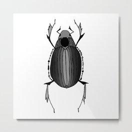 Egyptian Scarab Beetle Gray Black Metal Print