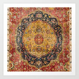 Indian Boho III // 16th Century Distressed Red Green Blue Flowery Colorful Ornate Rug Pattern Art Print