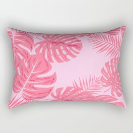Tropical flamingo pink leaves Rectangular Pillow