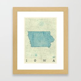 Iowa State Map Blue Vintage Framed Art Print
