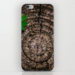 Green leaf Brown wood iPhone Skin