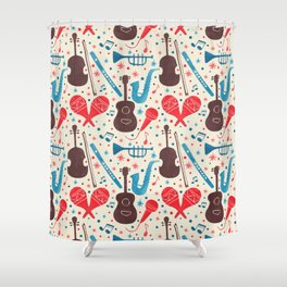 Music is Everywhere Pattern Shower Curtain