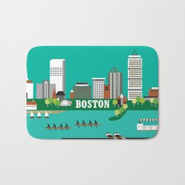 Boston, Massachusetts - Skyline Illustration by Loose Petals Bath Mat
