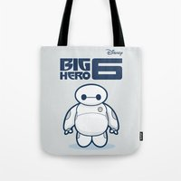 baymax Tote Bags featuring BAYMAX by bimorecreative