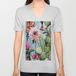 Watercolor Flowers Art Work Unisex V-Neck