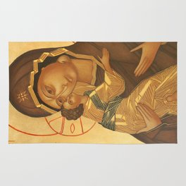 Orthodox Icon of Virgin Mary and Baby Jesus Rug