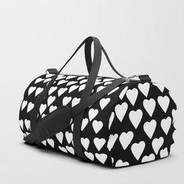 Hearts White on Black Duffle Bag