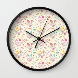 Seamless colorful floral pattern with birds and berry Wall Clock