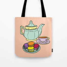 Tea and Macaroons Illustration Tote Bag