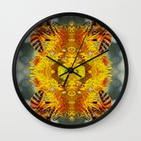 bees Wall Clocks featuring bees by Abraham Cervantes