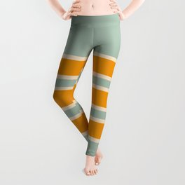 70s Style Mint Orange White Retro Stripes Pomona Leggings