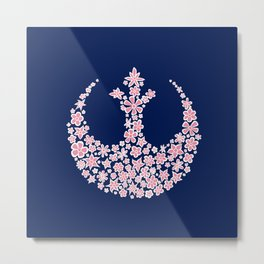 Rebel Alliance Flowers in Blue White and Pink Metal Print