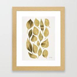 Cascading Leaves – Gold Palette Framed Art Print
