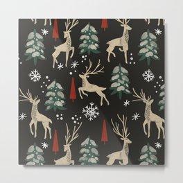 Deer in the snowy night Metal Print