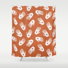 See Hold Love | Terracotta & Pink Shower Curtain