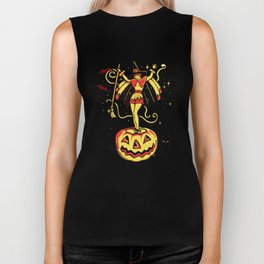 Halloween Witch Girl (vintage) Biker Tank
