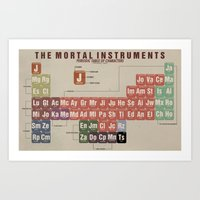the mortal instruments Art Prints featuring The Mortal Instruments Periodic Table of Characters by thespngames