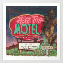 Hill Top Motel Route 66 painting Art Print