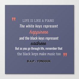 B.A.P Yongguk Quote Canvas Print