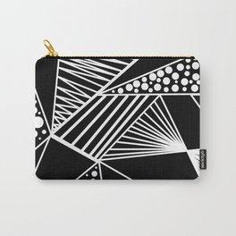 Black white geometric trendy artistic stripes polka dots Carry-All Pouch