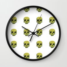 Skull In Gold Wall Clock