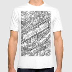 The Town of Train 3 White MEDIUM Mens Fitted Tee