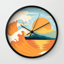 Orange wave Wall Clock