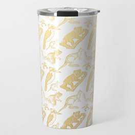 Beautiful Golden Australian Native Floral Print Travel Mug