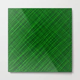 Cross ornament of their green threads and iridescent intersecting fibers. Metal Print