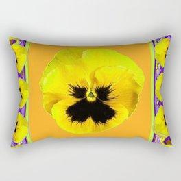 LILAC FRAMED YELLOW  PANSY GARDEN FLOWERS Rectangular Pillow