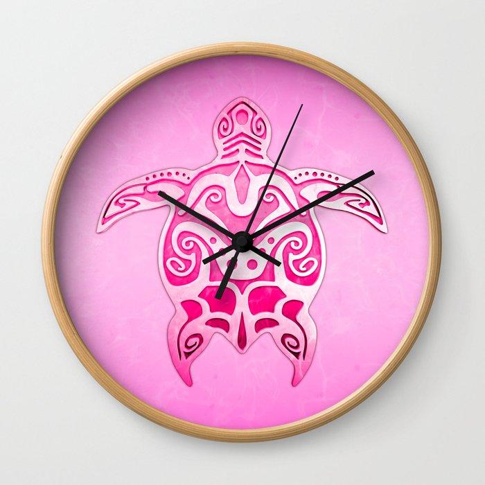 Pink Tribal Turtle Wall Clock