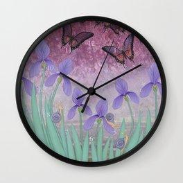 butterflies dance in purple skies above irises Wall Clock