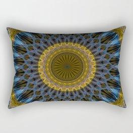 Mandala in golden and blue tones Rectangular Pillow