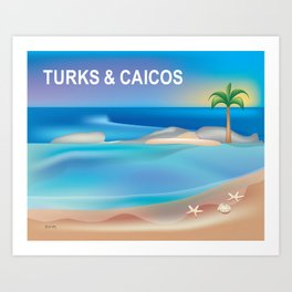 Turks and Caicos - Skyline Illustration by Loose Petals Art Print