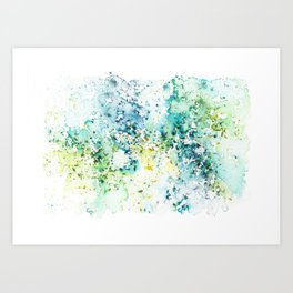 Green Watercolour Rain Art Print