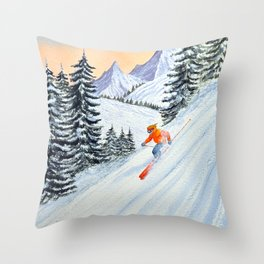 Skiing - The Clear Lady Leader Throw Pillow