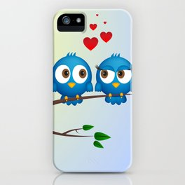 Cute blue birds in love cartoon iPhone Case