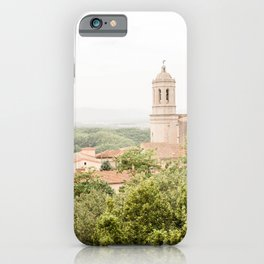Girona Cathedral, View from Murallas de Girona, Spain - Travel Photography iPhone Case