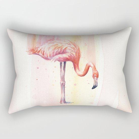 Pink Flamingo Watercolor Bird Animals Whimsical Animal Rectangular Pillow