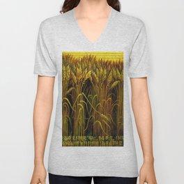 Classical Masterpiece 'Wheat' by Thomas Hart Benton Unisex V-Neck