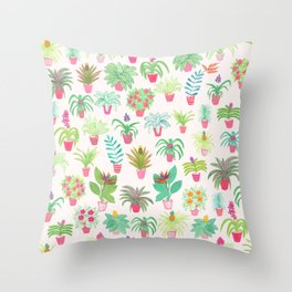 Tropical Houseplants Throw Pillow