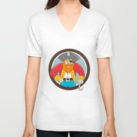 captain hook V-neck T-shirts featuring Captain Hook Pirate Circle Cartoon by patrimonio