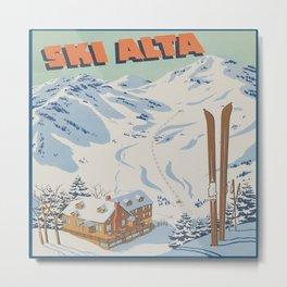 Ski Alta Vintage Travel Poster Metal Print